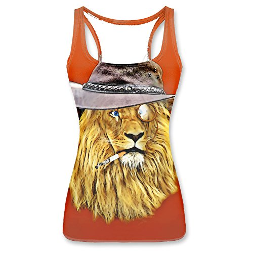 Hipster Lion Funny Graphic Women Vest Tank Tops XL