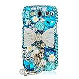 Mavis's Diary Luxury 3D Handmade Bling Crystal & Rhinestone Silver Bow Pearl Pendant Design Blue Hard Clear Cover Hard Case with Soft Clean Cloth for Samsung Galaxy (Samsung Galaxy S3 i9300 S III R530X)