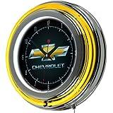 "Chevrolet Chrome Double Ring Neon Clock, 14"""
