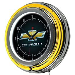 Chevrolet Chrome Double Ring Neon Clock, 14\