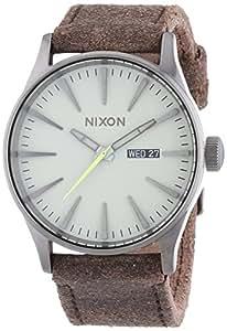 Nixon Herren-Armbanduhr XL The Sentry Leather Analog Quarz Leder A1051388-00