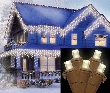 Set Of 70 Warm Clear Led Wide Angle Icicle Christmas Lights - Brown Wire