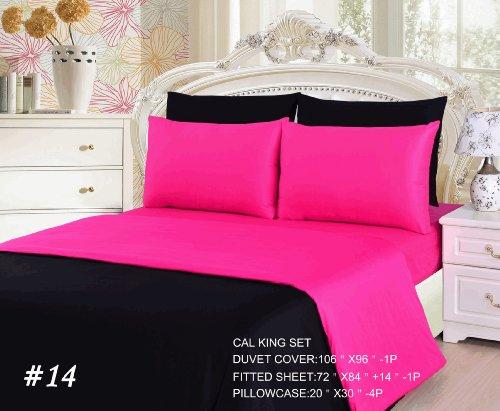 Tache 6 Piece 100% Cotton Pink Superstar Reversible Duvet Cover Set, Cal King front-306845