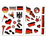 Fanartikel Deutschland-Fahnen-Tattoos 2er Set mit 28 Motiven - Besser als