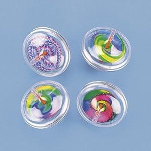 Plastic Swirl Spin Tops (1 dz)