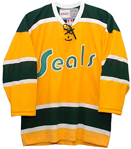 Vintage California Golden Seals 1970-1973 Home Yellow Men's CCM Hockey Jersey (XL) (California Golden Seals Jersey compare prices)
