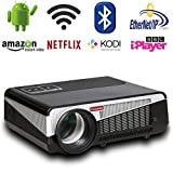 Gzunelic 4500 lumens Android Wifi 1080p Video Projector LCD LED Full HD Theater Proyector with Bluetooth Wireless Synchronize to Smart Phones by Airplay or Miracast Ideal for Home Entertainment (Color: 4500 lumens Smart Projector)
