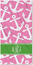 Monogram Anchors on Pink Beach Towel