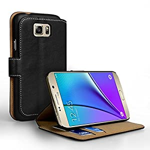 Yousave Accessories Samsung Galaxy Note 5 Case Black PU Leather Wallet Stand Cover