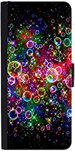 Snoogg Bubbles Universal Graphic Snap On Hard Back Leather + Pc Flip Cover Sa...