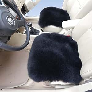 schaffell 2 st ck autositzbez ge schwarz autokissen fahrer sitzbezug lammfell auto. Black Bedroom Furniture Sets. Home Design Ideas