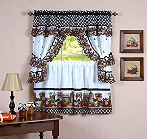 Naturally Home Mason Jars Kitchen Curtain Cottage Set Tiers And Ruffled Swag 36
