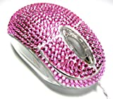 Diamante Bling Pink Crystal Rhinestone Optical USB Scroll Wheel Mouse