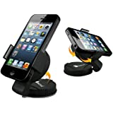 GreatShield Lightweight Universal Car Mount Holder with Suction Cup and Adhesive Pedestal for Blackberry Z10 / Q10 (Adjustable for devices from 55-85MM wide)