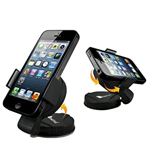 GreatShield Windshield Dashboard Universal Smart Holster Car Mount for Cell Phones and GPS Devices - Works with iPhone 5 iPhone 4/4S Samsung Galaxy S3 S III Galaxy Note Epic 4G Touch HTC One X V S Droid Incredible EVO 4G LTE Rezound Motorola Photon Q 4G LTE Atrix HD 2 Droid RAZR Maxx Blackberry Torch Bold Curve LG Optimus Elite 4X and Many More
