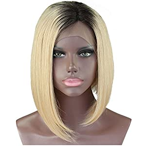 Cbwigs Short Blonde Ombre Beyonce's Hairstyle Bob Style 100% 6A Brazilian Virgin Human Hair Lace Front Wigs Two Tone Wigs for African American #1B/613