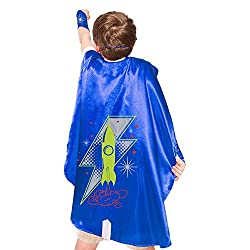 Blue Rocket Superhero Cape With Matching Eye Mask and Wristbands
