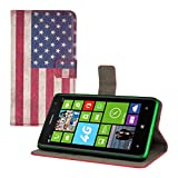 Kwmobile Chic leather case for the Nokia Lumia 625 with convenient stand function - Flag design (USA) (Blue Red etc.)!