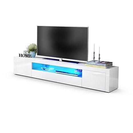 TV Board Lowboard Santiago V2, Korpus in Weiß Hochglanz / Fronten in Weiß Hochglanz inkl. LED Beleuchtung