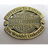 Metal Enamel Pin Badge Brooch Antique Brass Finish Harley Davidson Explanation