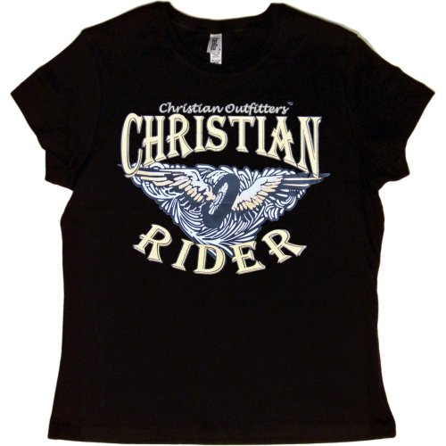JUNIORS T-SHIRT : BLACK - MEDIUM - Christian Outfitters - Christian Rider - Biker Inspirational