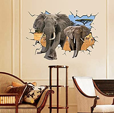 EMIRACLEZE Christmas Gift Holiday Shopping Africa 3d Style Elephant Vivid Removable Mural Wall Stickers Wall Decal for Children Bedroom Home Decor