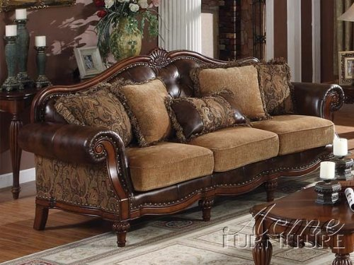 Leather sofa acme 05495 dreena bonded leather sofa with for Best pillows for leather couch