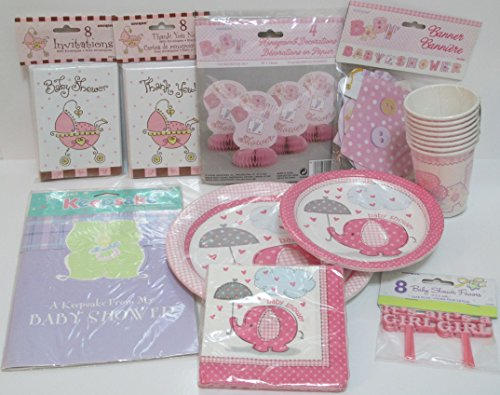 Girl Baby Shower Supplies - Premier Package With Disposable Dinnerware Service For Eight, Decorations, Registry, Invitations