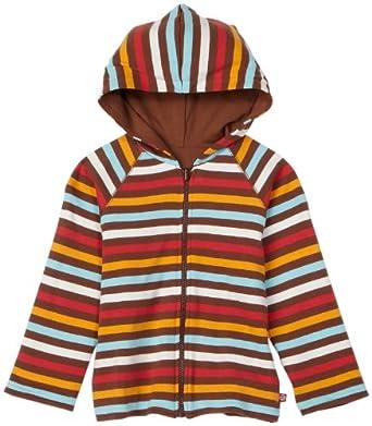 Zutano Little Boys' 5 Color Stripe Reversible Zip Hoodie,Chocolate/Orange/Aqua/Red,4T