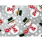 Metallic Silver POLKA DOT SNOWMEN Snowman Christmas Gift Wrap Wrapping Paper - 16ft Roll