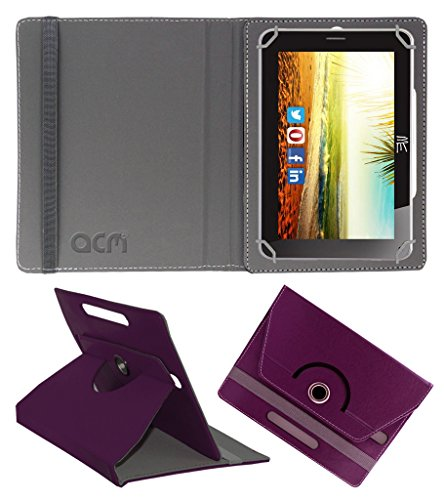 Acm Rotating 360° Leather Flip Case For Hcl Me Connect V3 2g Tablet Cover Stand Purple  available at amazon for Rs.149