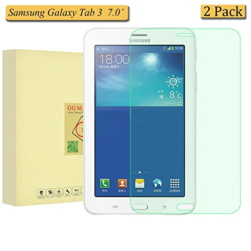 [2 Pack] Samsung Galaxy Tab 3 7.0 P3200 P3210 T210 T211 Screen Protector, GG MALL® 9h Hardness Premium Anti Scratch Explosion-Proof Tempered Glass Screen Protector for Samsung Galaxy Tab 3 7.0'