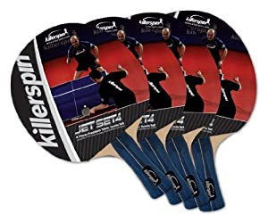 Killerspin 110-09 Jet Set 4 Table Tennis Racket Set, 4 Racket Set
