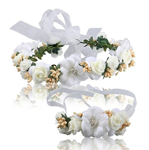 Vovotrade Wedding Hair Accessories Wrist Flower Garland Seaside Holiday Pictures (Beige)