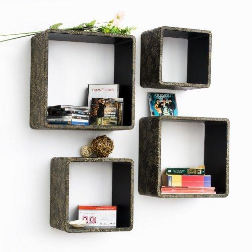 Trista - [Retro Bronze] Square Leather Wall Shelf / Bookshelf / Floating Shelf (Set Of 4)