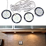 Set of 4, LED Puck Lights / Plinth Lights / Under Cabinet Lights, Warm White Colour, Complete Kit With On / Off Switch (Ideal for Kitchen Lighting, Cupboards, Under Cabinet Lights, Worktop Lights, Etc)