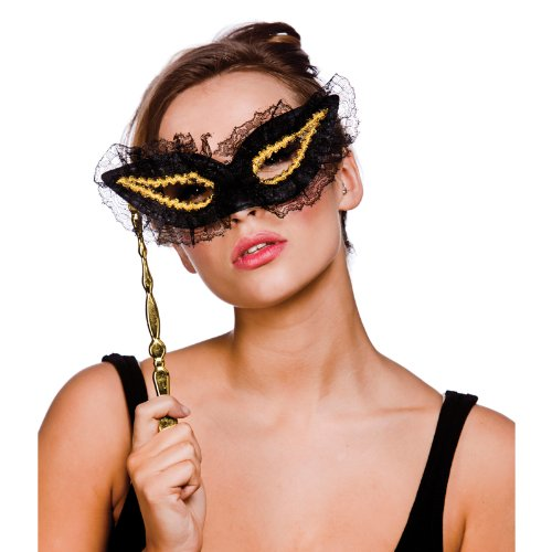 Black/gold Lace Eyemask With Stick Handle Fancy Dress Halloween...