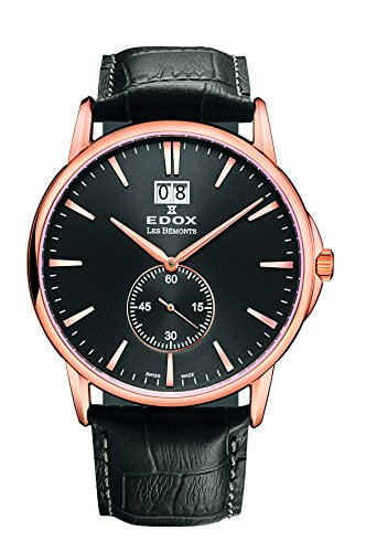 EDOX EDOX LES BÈMONTS Unisex Watch BIG DATE Dial Analogue Display and Gold Leather 64012 37R Niro