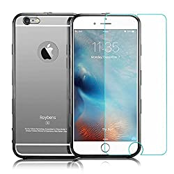 iPhone 6 6s Plus Case with 9H Tempered Glass Mirror Back Cover and Front Screen Protector, Roybens Luxury Detachable Metal Aluminum Bumper + Hard Back Case, 360 Degree Full Protective Shockproof Black
