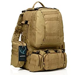 Large Tactical Backpack-Sport Outdoor Military Rucksack Hiking Camping Mountain Climbing Backpack Combined with 3 MOLLE Bags(Tan)