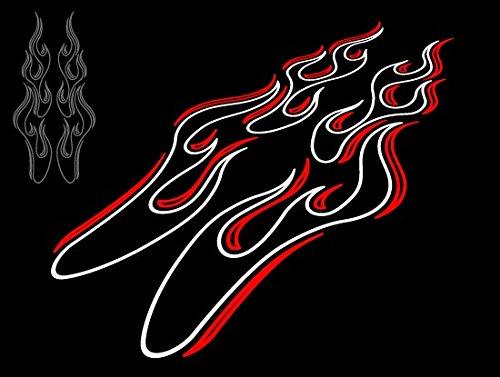 カッティングステッカー ピンストライプ風フレイムC 白×赤
