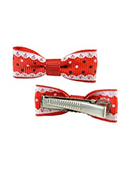 Designed Red Bow Clip Pair For Girls By Sarah