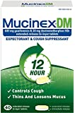 Mucinex DM 12-Hour Expectorant and Cough Supressant Tablets, 40 Count