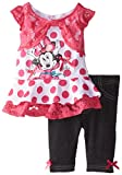 Disney Baby-Girls Infant 2 Piece Minnie Mouse Screenprint Short Set with Flutter Sleeves, Pink, 24 Months