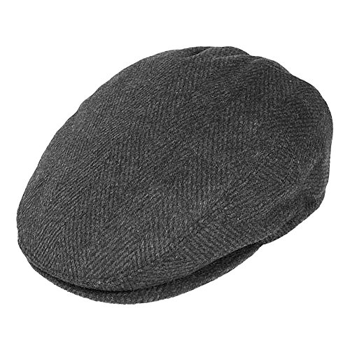 Village Hats Men's Jaxon Hats Herringbone Flat Cap - Charcoal Large