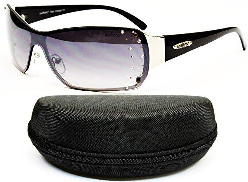D08-cc Diamond Eyewear Shield Rimless Sunglasses (524 Silver/Black, uv400)