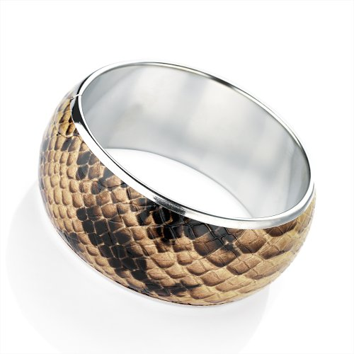 Snakeskin Fashion Bangle Brown & Silver