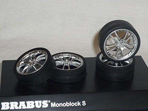 brabus-monoblock-s-silber-chrom-felgenset-felgen-set-reifen-1-18-hot-works-racing-modellauto-modell-