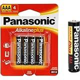 Panasonic AM-4PA/4B Alkalineplus AAA Batteries, 4-Pack (Black)