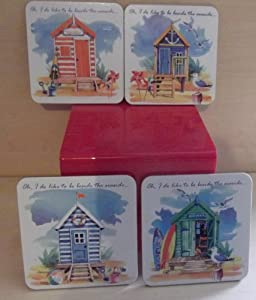 Set of Four Coasters From the Range Of Beside The Seaside Beach Hut Set